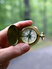 Compass On Woods Path